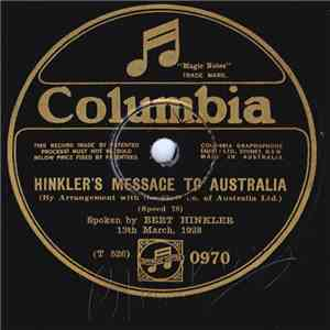 Bert Hinkler - Hinkler's Message To Australia / Incidents Of My Flight download free